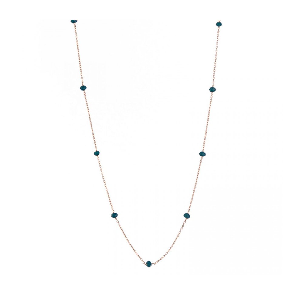 CRYSTAL BEAD NECKLACE Teal Alisia