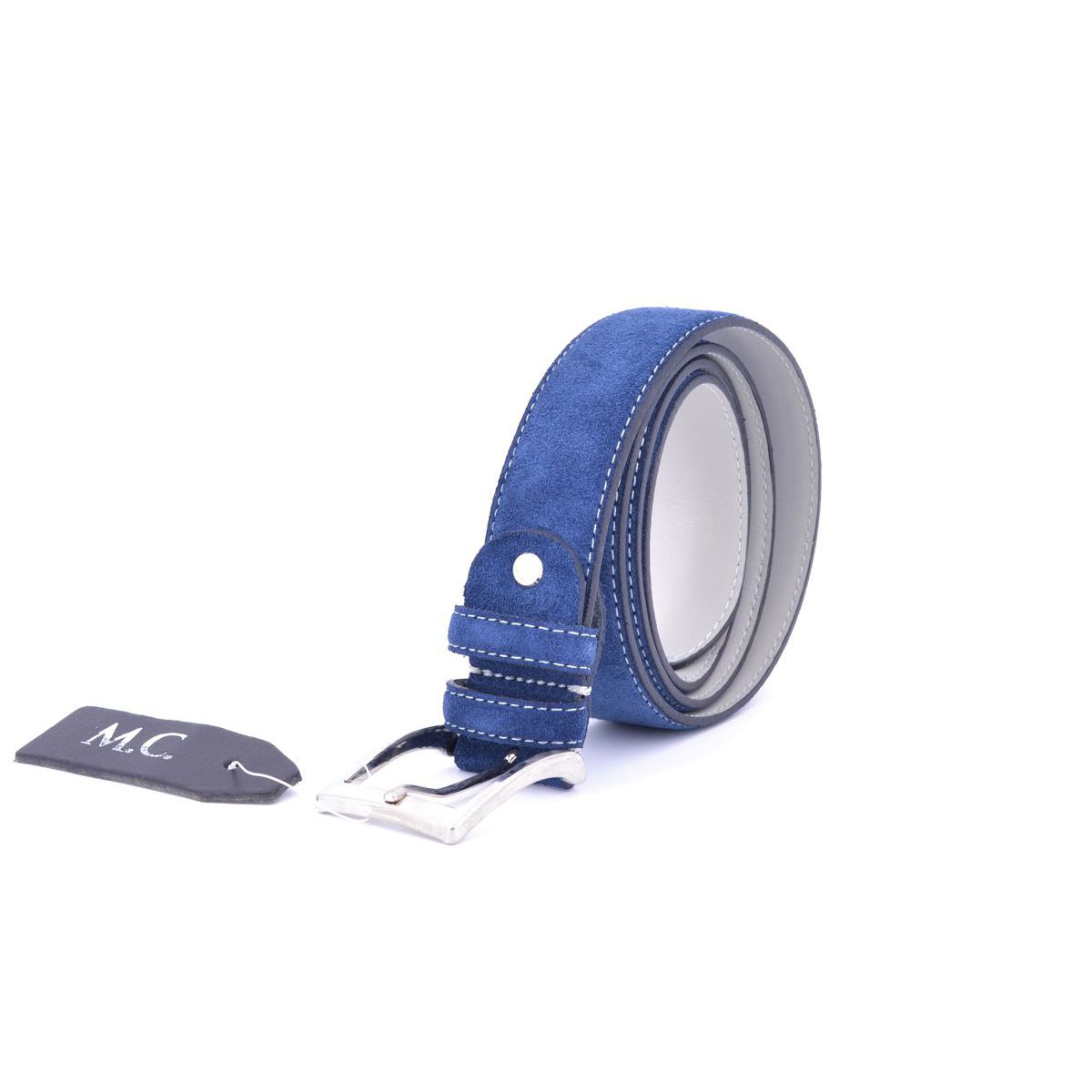 Suede belt 002 Blue BRASS Workshop