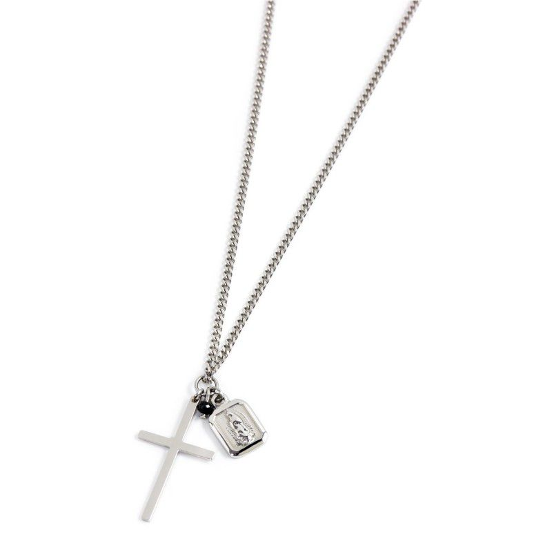Necklace Steel Cross Onyx and Madonna Steel Marlù