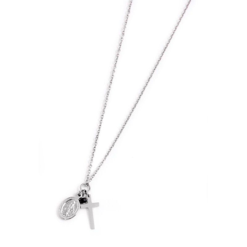 Cross and Madonna necklace Steel Marlù