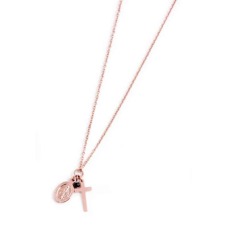 Cross and Madonna necklace Rosegold Marlù