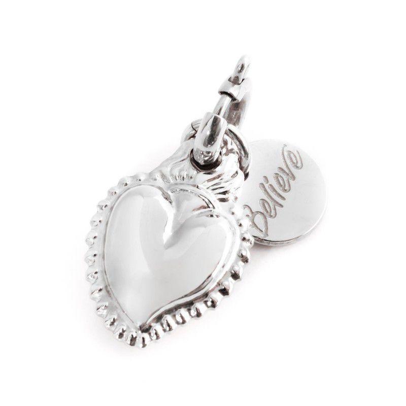 Steel Sacred Heart Charm Steel Marlù
