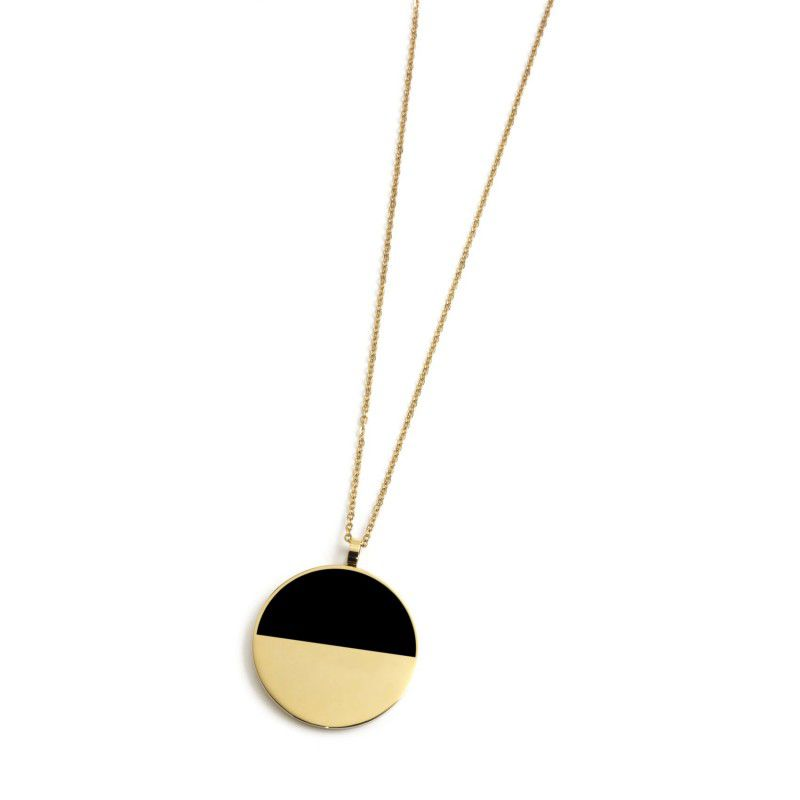 Steel necklace with black acrylic pendant Gold Marlù