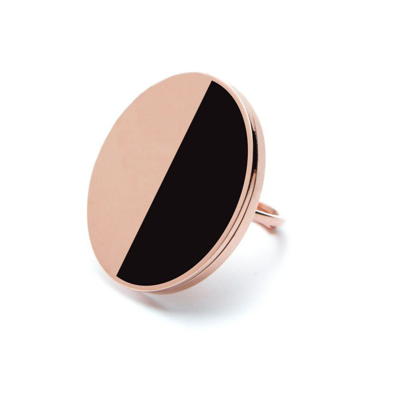 Black Acrylic Steel Ring 3 CM Rosegold Marlù