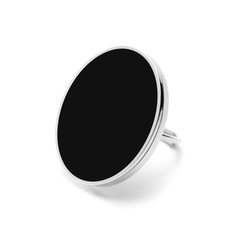 Black Acrylic Steel Ring 3 CM Steel Marlù