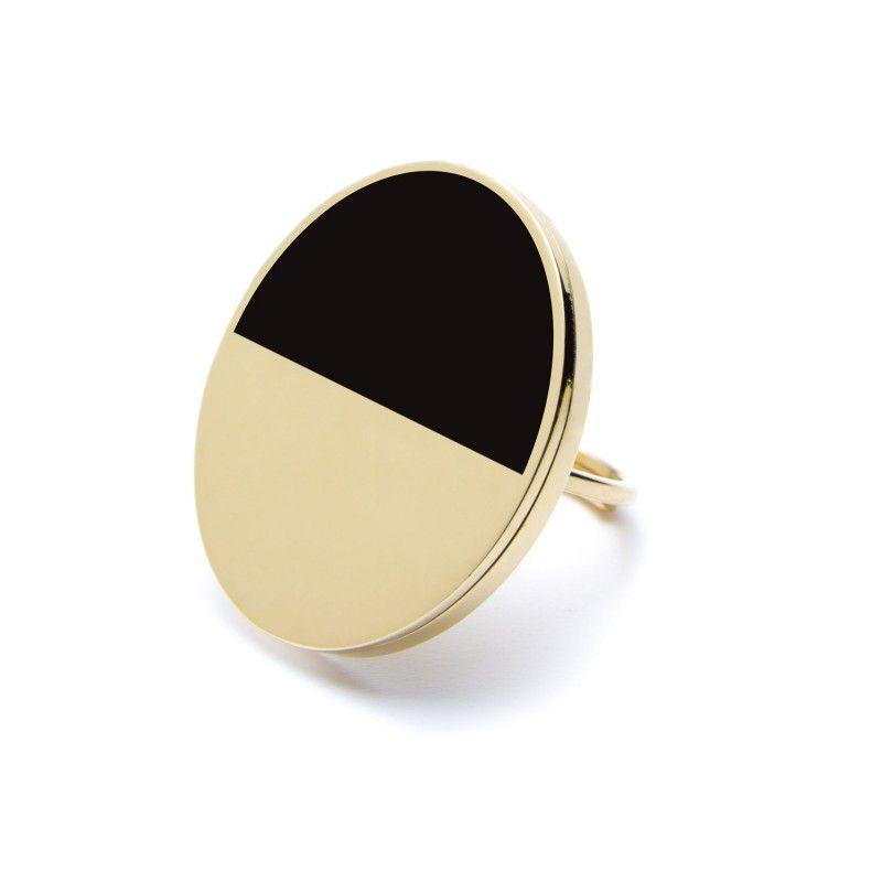 Black Acrylic Steel Ring 3 CM Gold Marlù