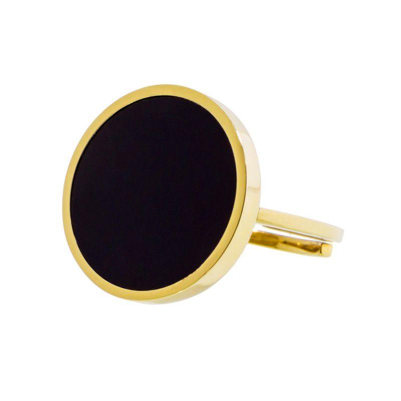 Black acrylic steel ring 2 CM Gold Marlù