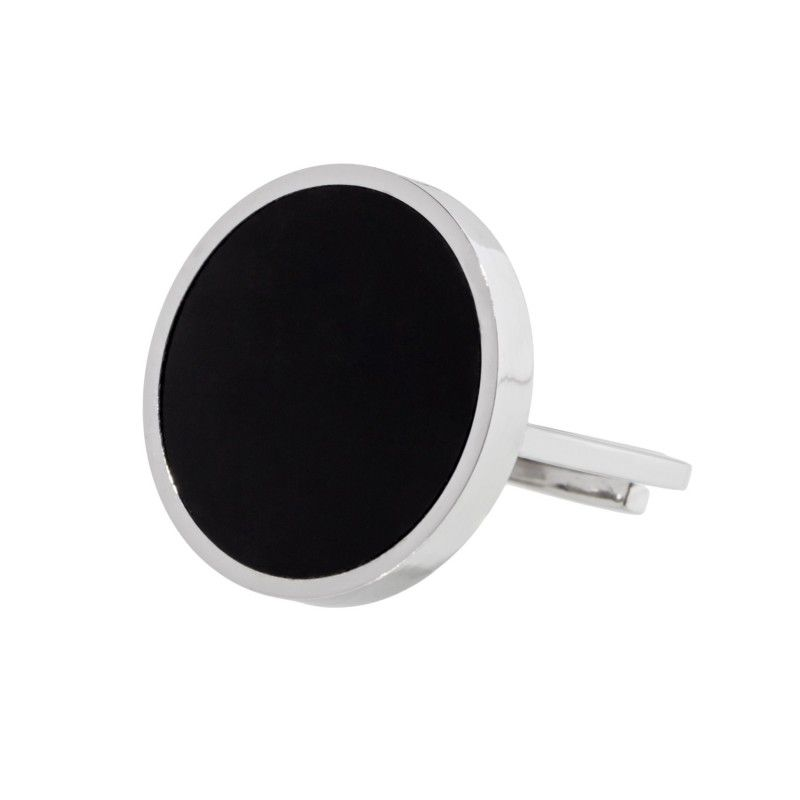 Black acrylic steel ring 2 CM Steel Marlù