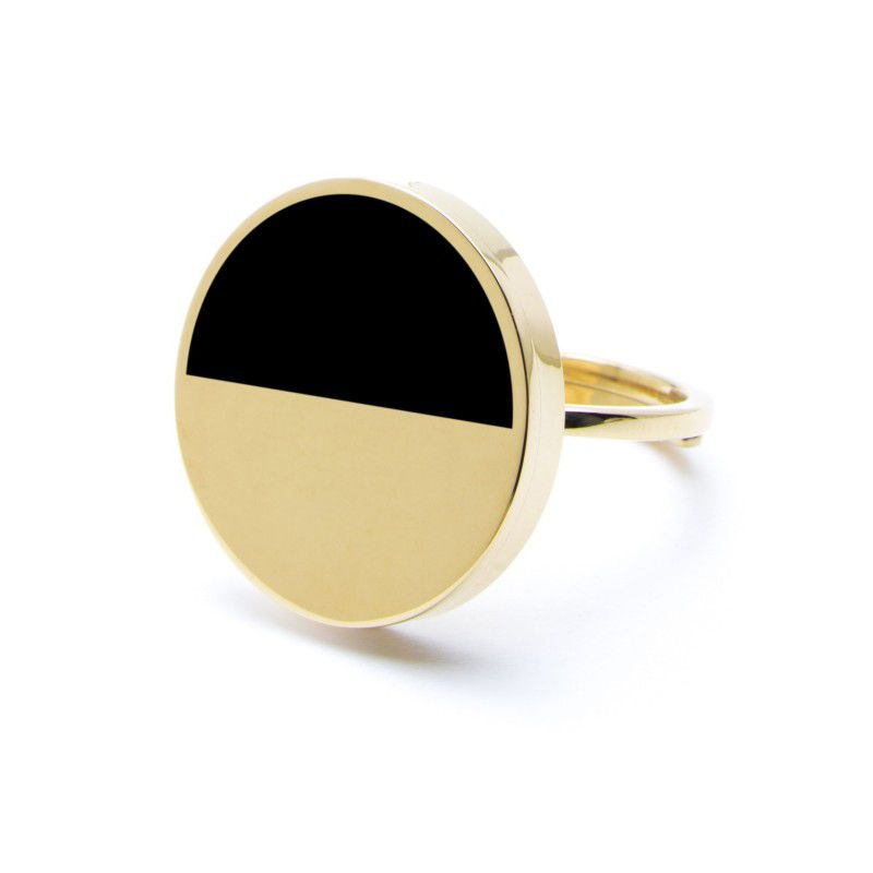Gold ring with black and gold acrylic Gold Marlù