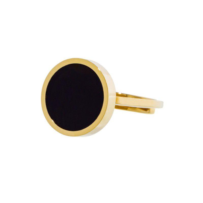 1.4 cm black acrylic steel ring Gold Marlù