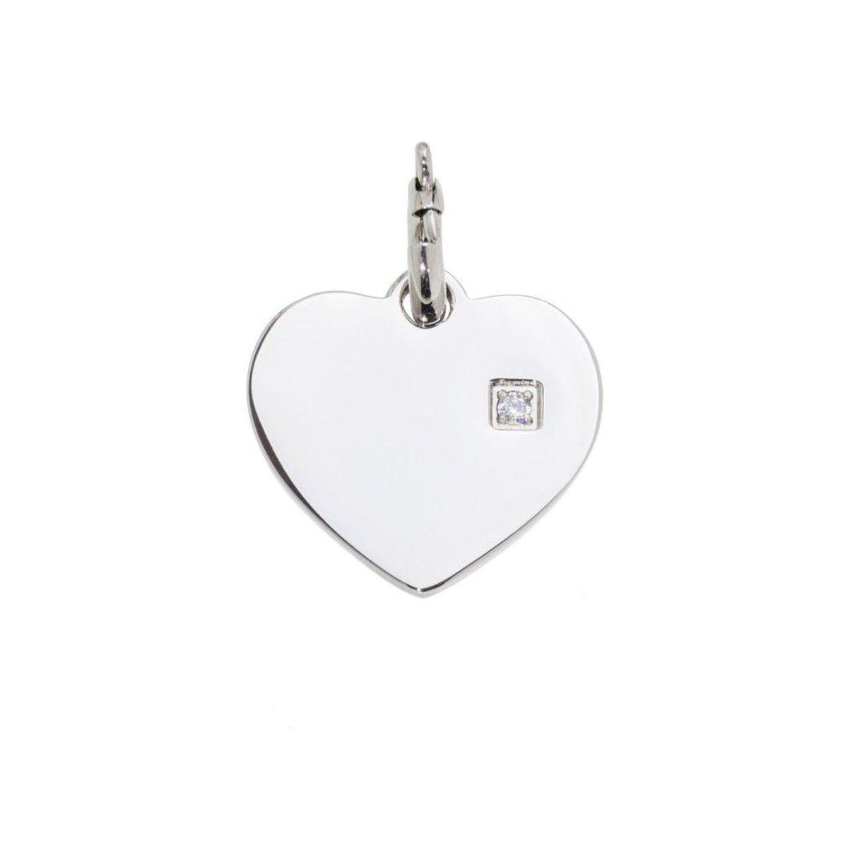 Steel heart charm with zircon Steel Marlù