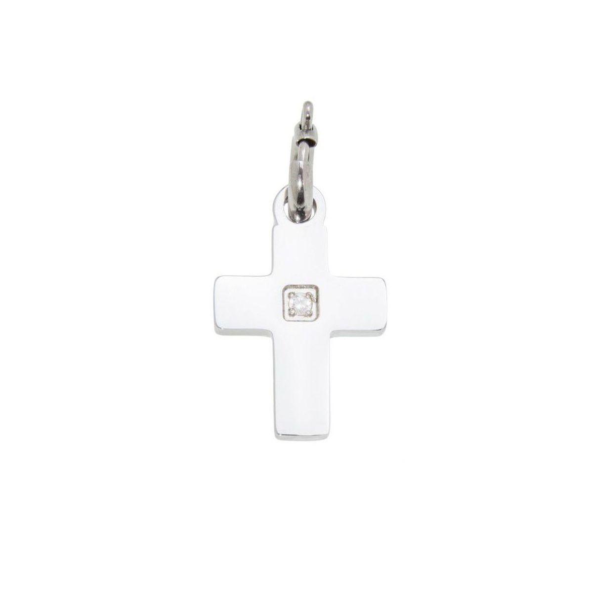 Charm steel Cross with zircon Steel Marlù