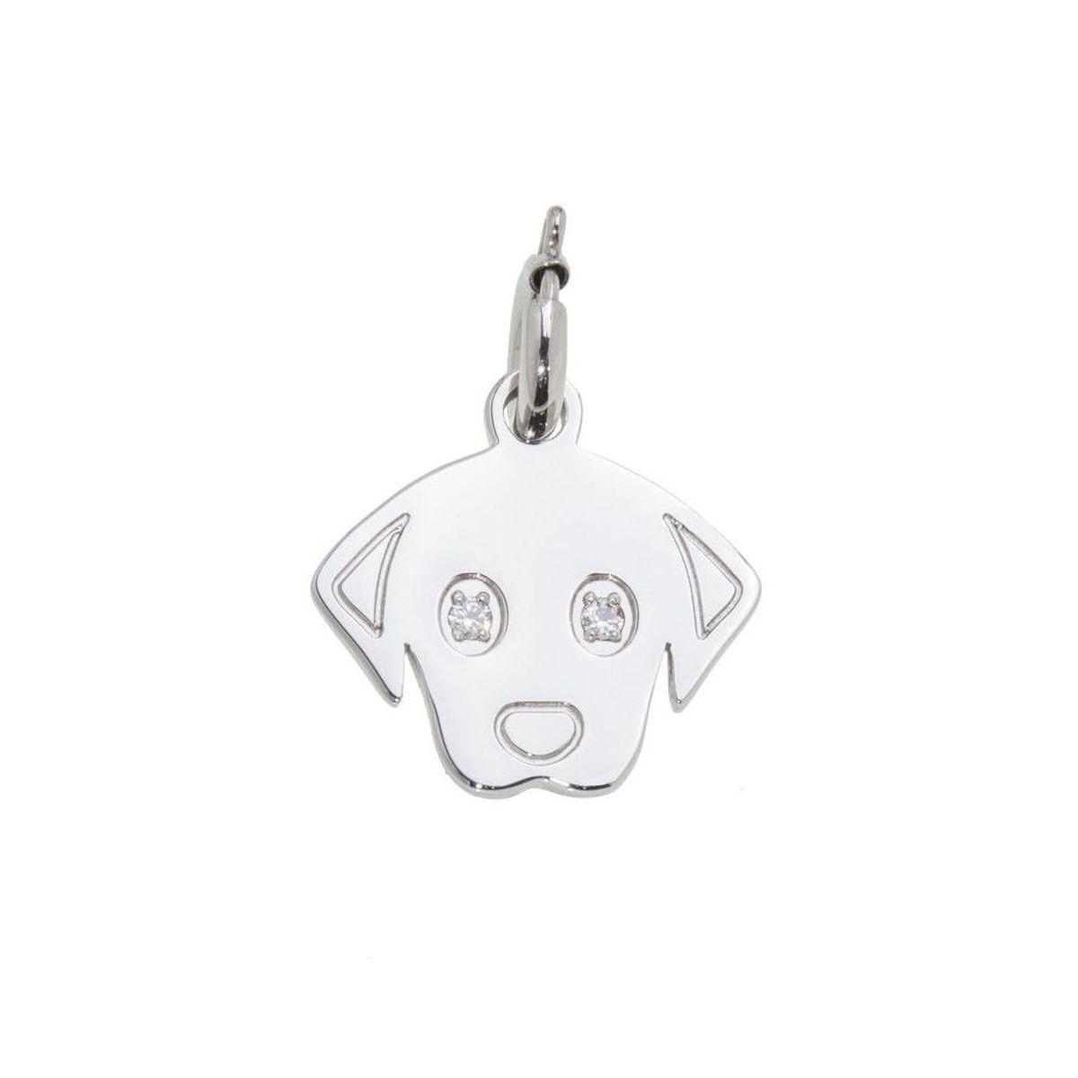Dog steel charm with zircon Steel Marlù