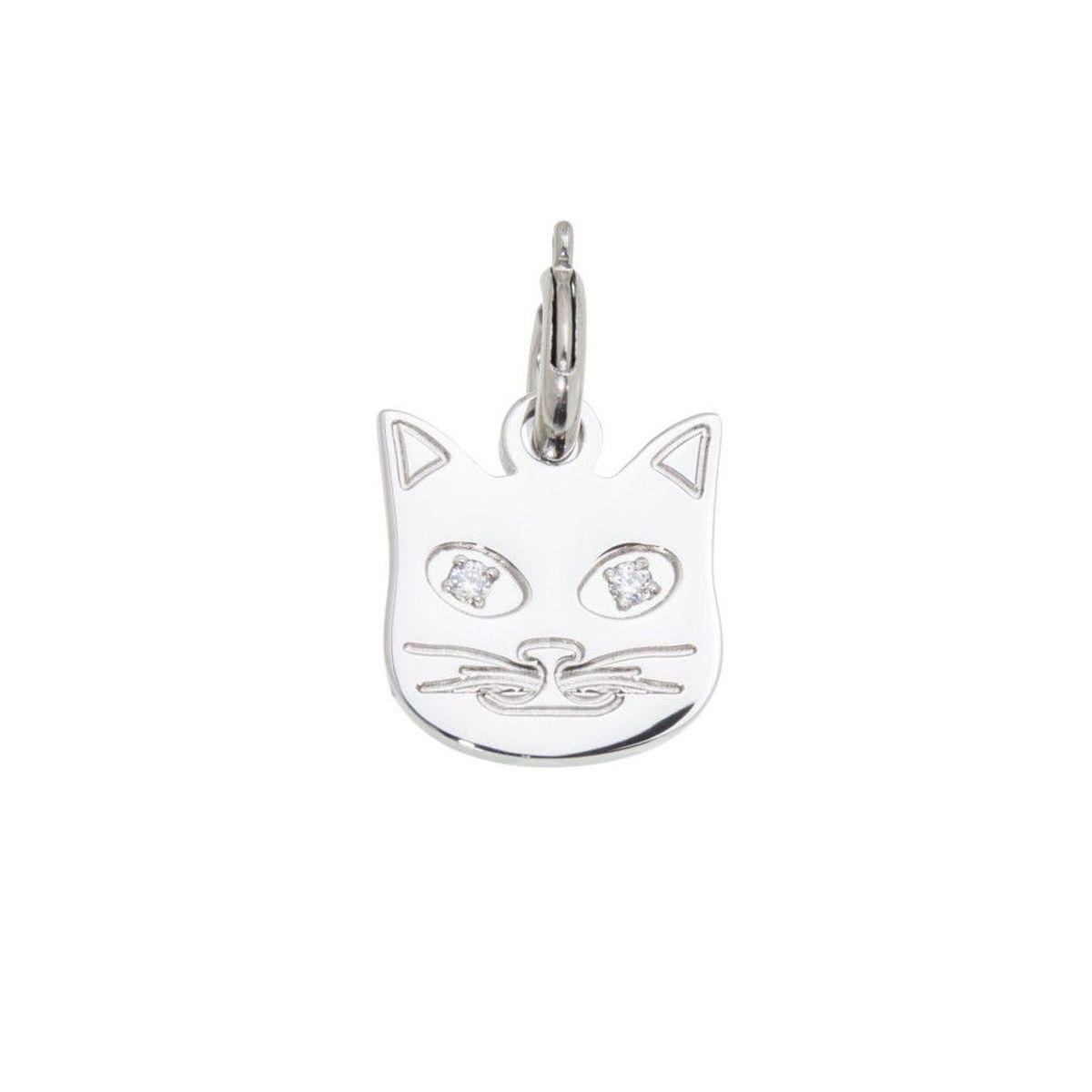 Charm steel Cat with zircon Steel Marlù