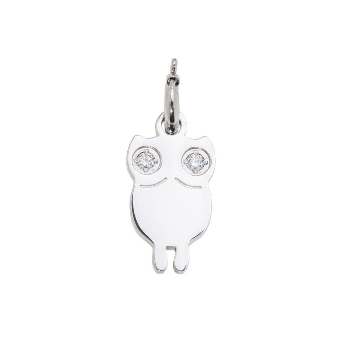 Charm steel Owl with zircon Steel Marlù