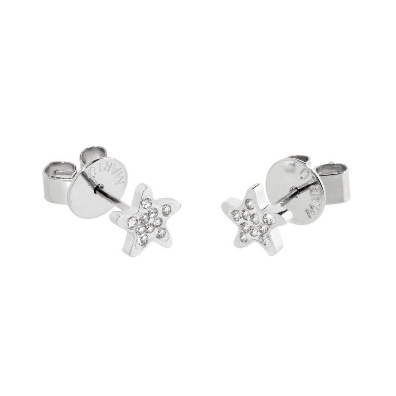 Starfish earrings with rhinestones White Marlù