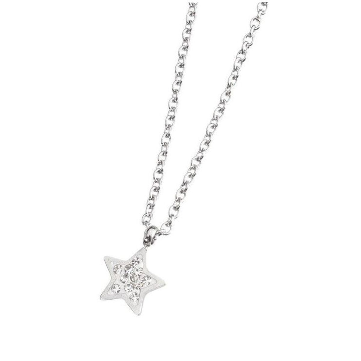 Star necklace in steel with rhinestones White Marlù