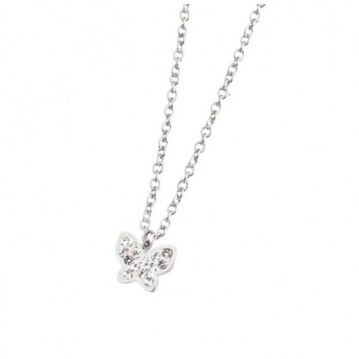 Butterfly necklace with rhinestones White Marlù