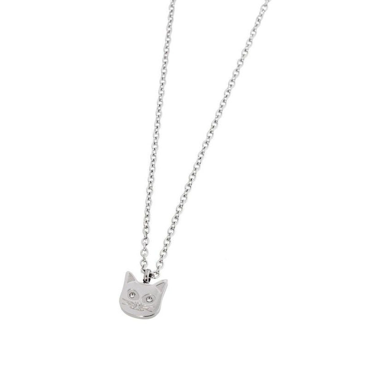 Cat necklace with rhinestones White Marlù