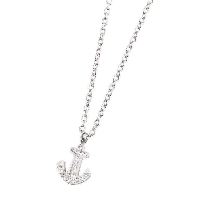 Anchor necklace with rhinestones White Marlù