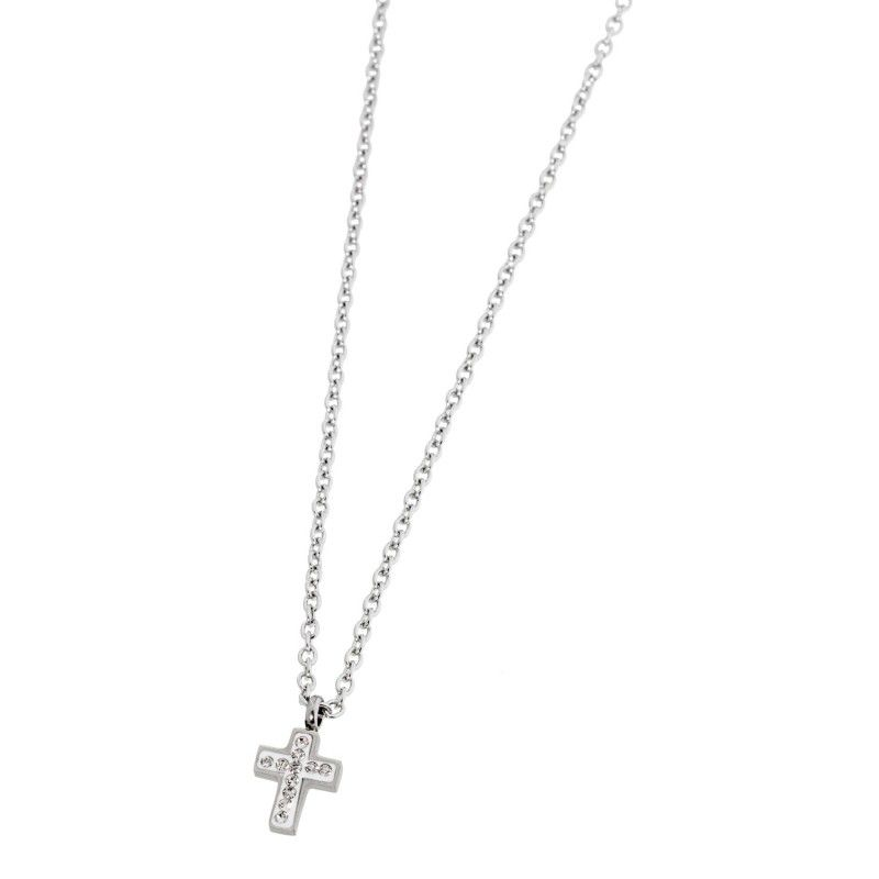 Cross necklace with rhinestones White Marlù