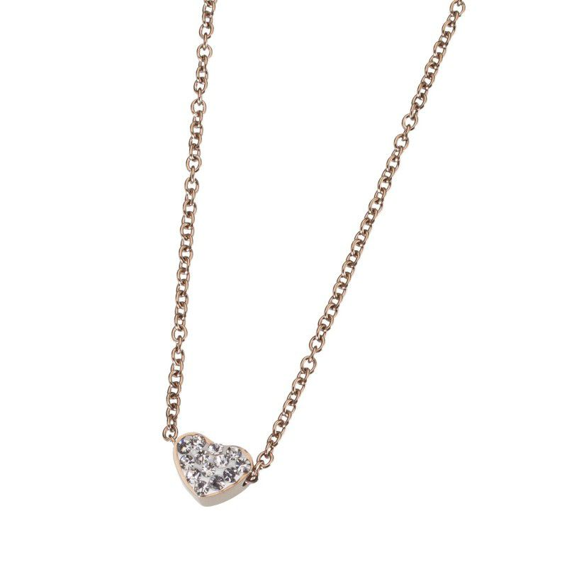 Heart and cubic zirconia necklace Rosegold Marlù