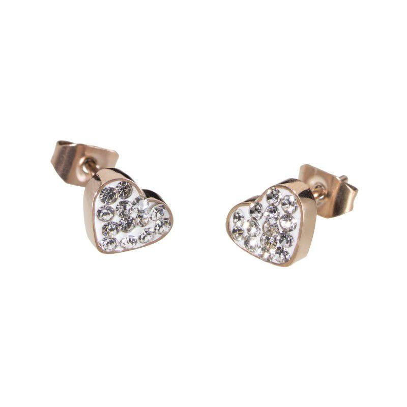 Lobe earrings with heart and zircons Rosegold Marlù