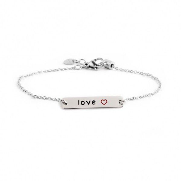 Stainless steel tag love bracelet Steel Marlù
