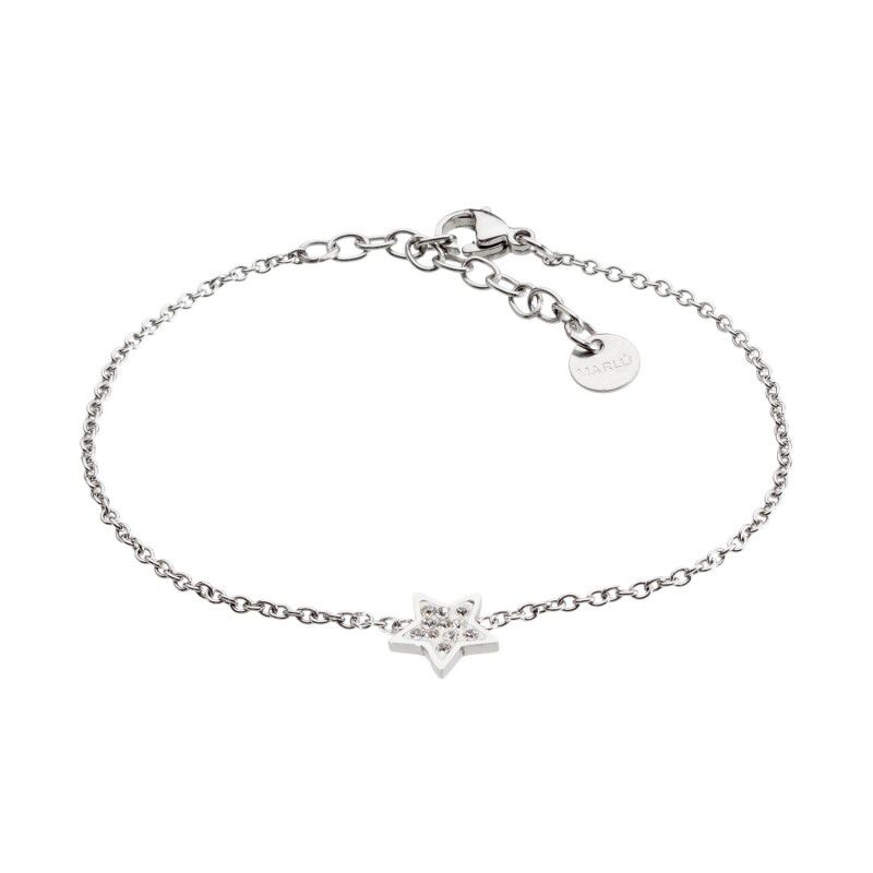 Steel star bracelet with rhinestones White Marlù
