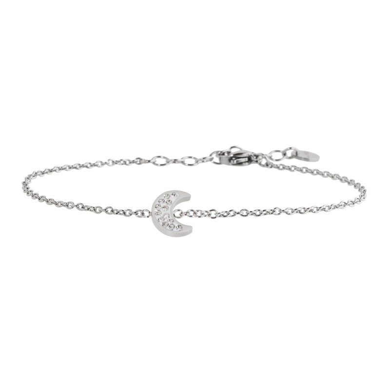 Moon steel bracelet with rhinestones White Marlù