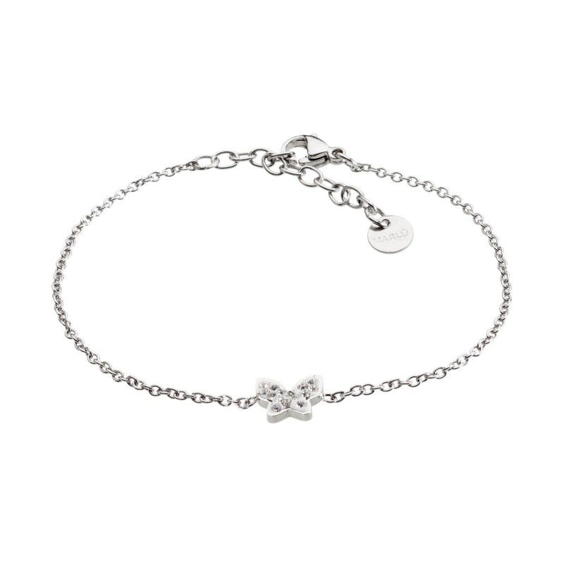 Butterfly steel bracelet with rhinestones White Marlù