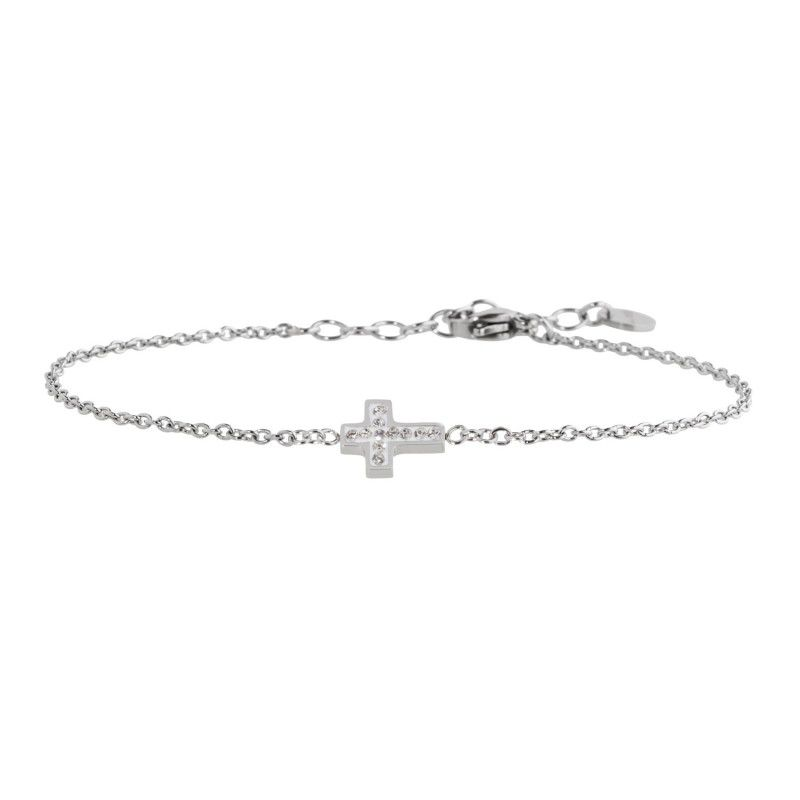 Steel cross bracelet with rhinestones White Marlù