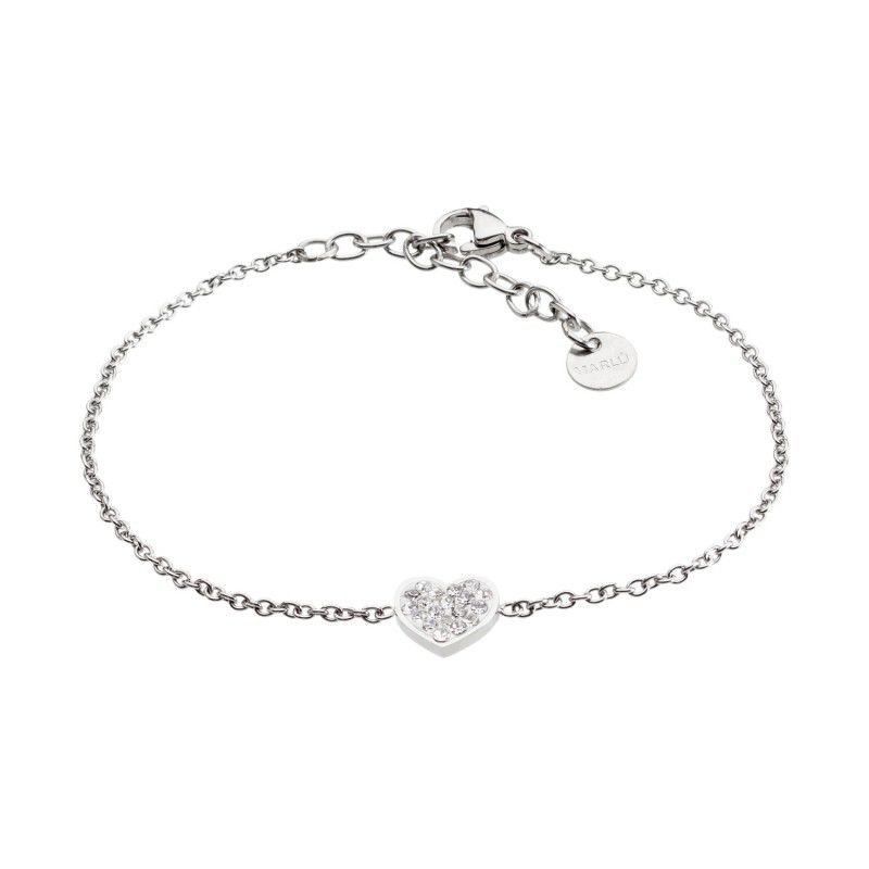 Steel heart bracelet with rhinestones White Marlù