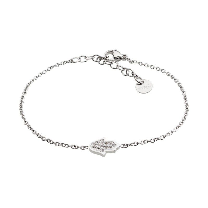 Hand of Fatima steel bracelet with rhinestones White Marlù