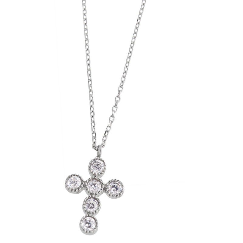 Stainless steel cross necklace with cubic zirconia 3mm White Marlù