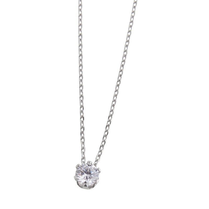 Steel necklace with solitaire 4 mm White Marlù