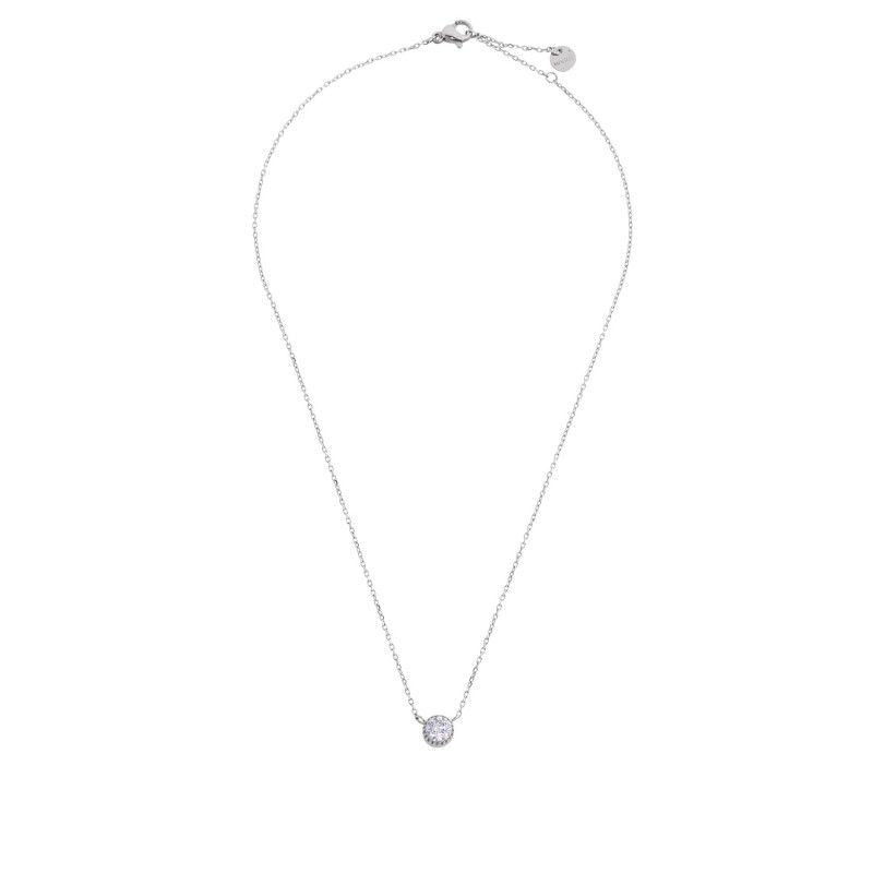 Steel necklace with solitaire c. 6 mm White Marlù