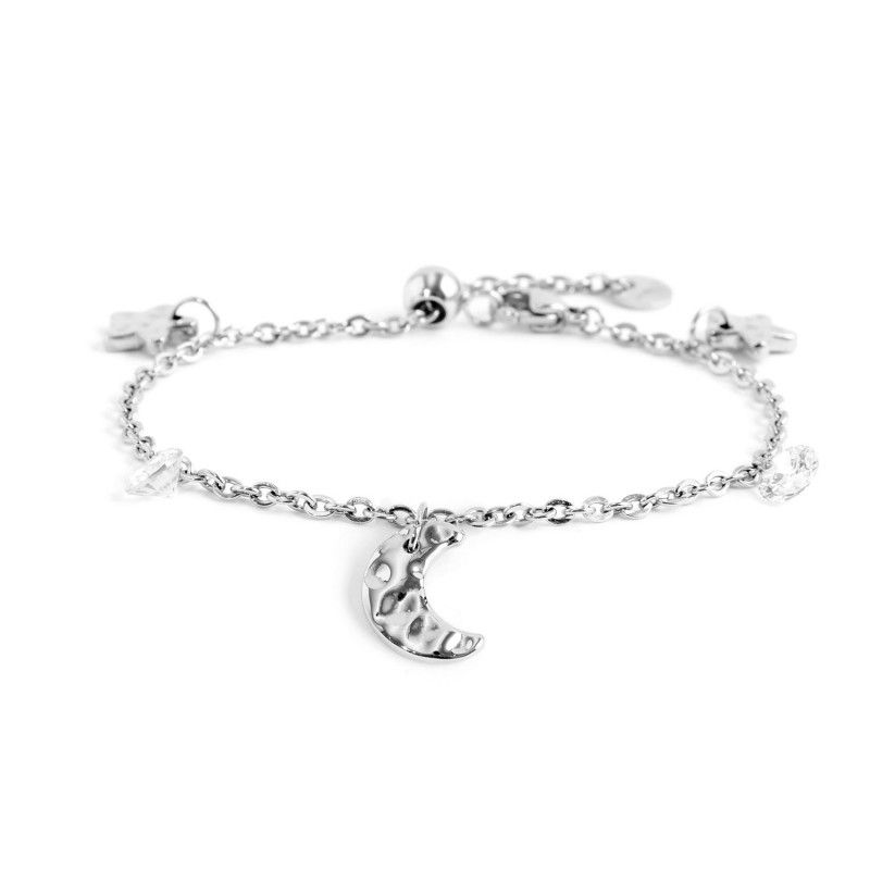 White crystals moon and stars bracelet Steel Marlù