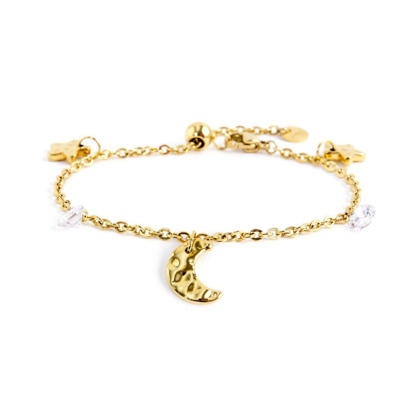 White crystals moon and stars bracelet Gold Marlù