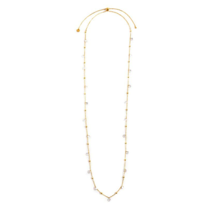 Steel necklace with white crystals 90 cm Gold Marlù