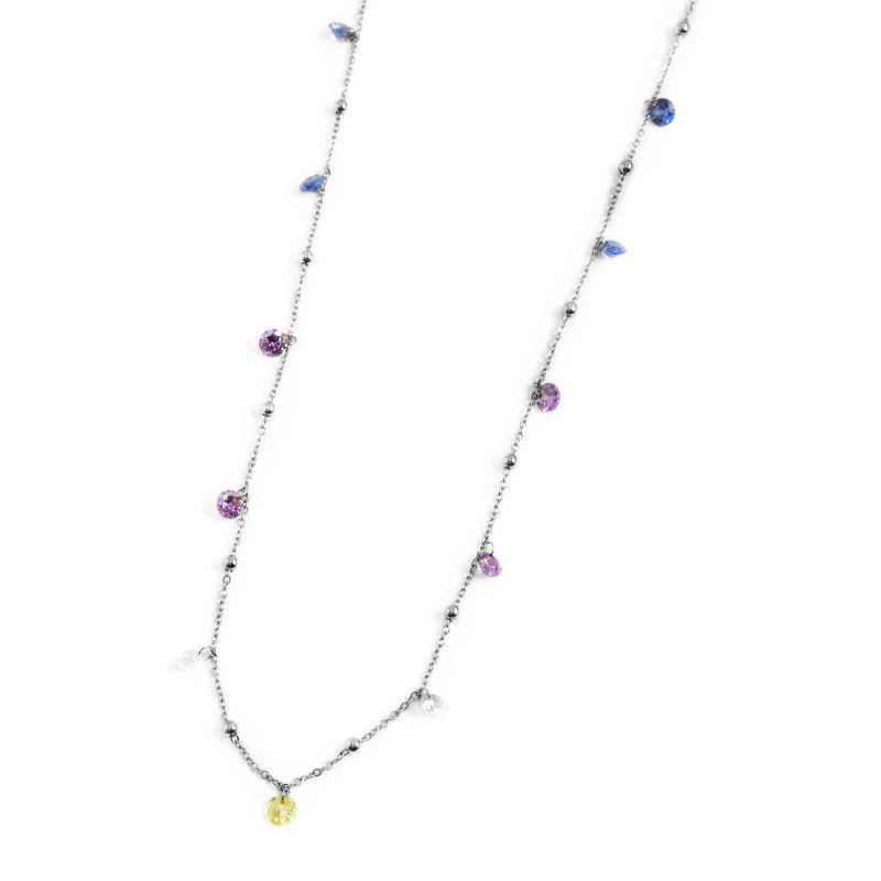 Steel necklace with colored crystals 90 cm Steel Marlù