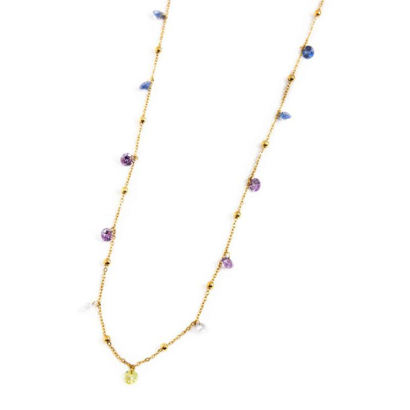 Steel necklace with colored crystals 90 cm Gold Marlù
