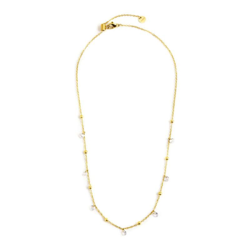 Steel necklace with white crystals 45 cm Gold Marlù