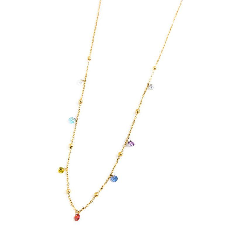 Steel necklace with colored crystals 45 cm Gold Marlù