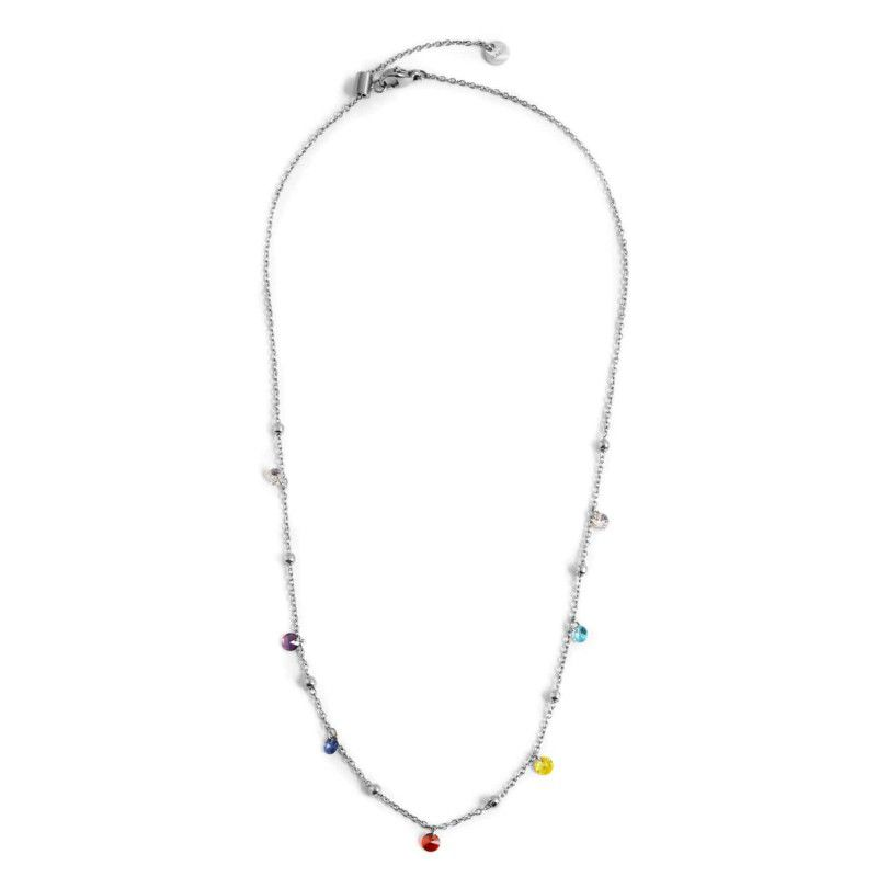 Steel necklace with colored crystals 45 cm Steel Marlù