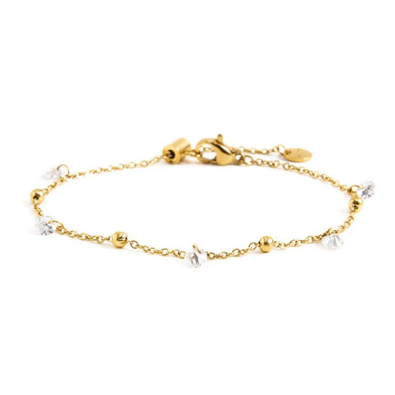 Steel bracelet with white crystals Gold Marlù
