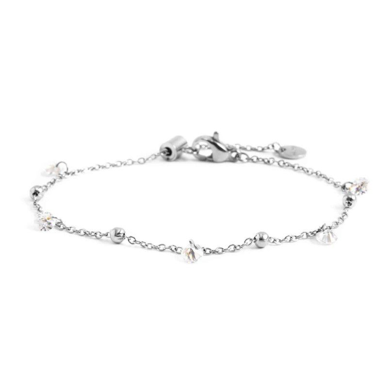Steel bracelet with white crystals Steel Marlù