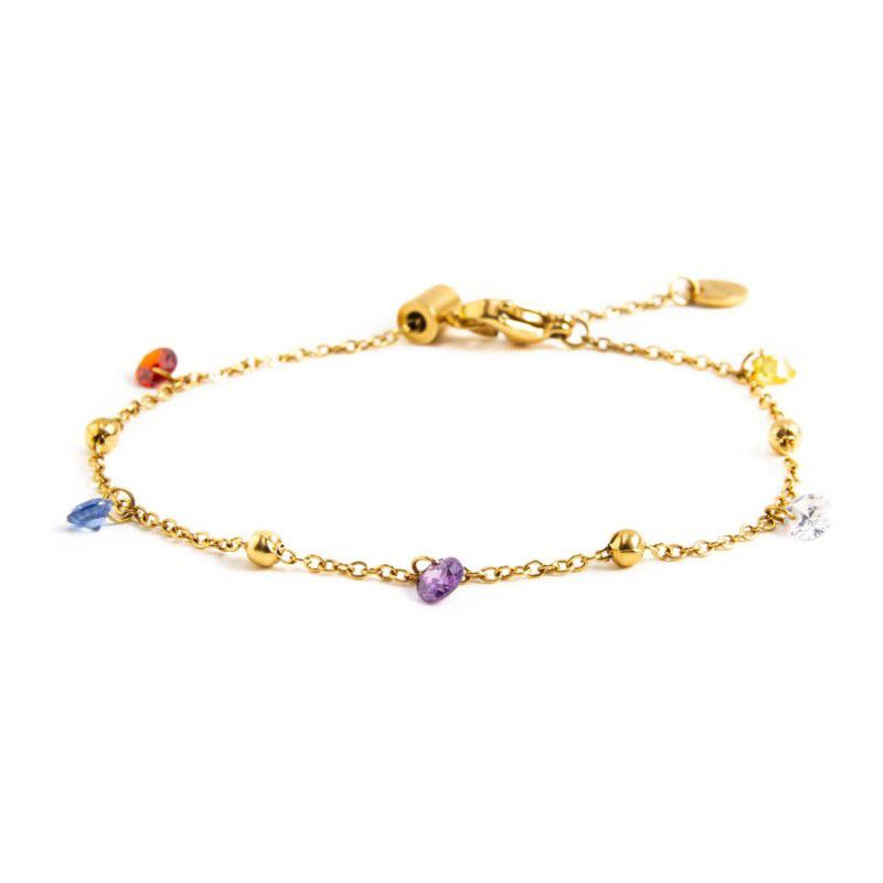 Steel bracelet with colored crystals Gold Marlù