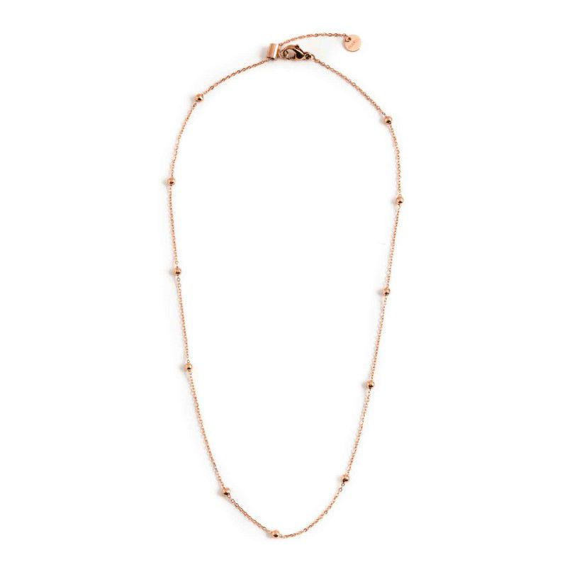 44 cm steel necklace with spheres Rosegold Marlù