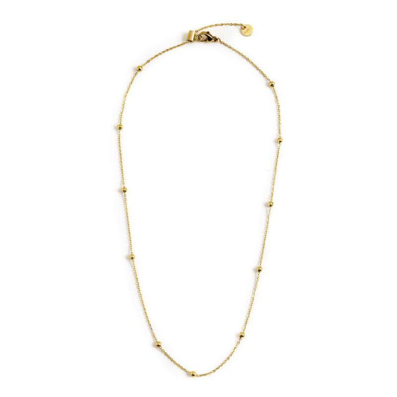 44 cm steel necklace with spheres Gold Marlù